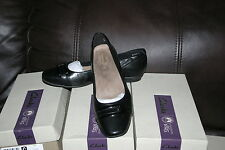 New Clarks Womens Candra Glare Black Leather Flat Ballet Loafer Shoes SIZE 8