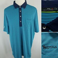 RLX RALPH LAUREN Men's XXL Blue Striped S/S Golf Shirt Florida Polo Club EUC