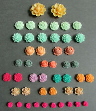 48 FLOWER CABOCHONS, Mixed Colors, Roses, Dahlias, Lotus, Resin Charm Pieces