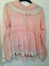 Antique Vintage Hungarian Silky Damask Pink Jacket - Lace Trim - Size 38- Rare