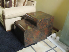 70s MODERN TOMMASO BARBI ERA WATER FALL SIDE TABLE BURL / FAUX TORTOISE VENEER