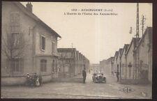 1910s POSTCARD AUDINCOURT FRANCE PEUGEOT AUTOMOBILE FACTORY MAIN GATE