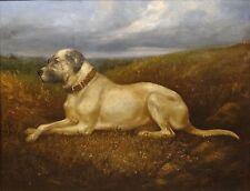 Fine Large 19th Century Hound Dog Portrait Landscape Antique Oil Painting