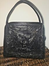 ��Vintage Mexican Aztec Eagle Hand Tooled Leather Black Tote Boho Hippie ��RARE