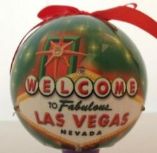Las Vegas Sign Christmas Tree Ball Ornament Holiday Green LED Light Up Hanging