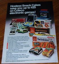 1982 HOSTESS SNACK CAKES PRINT AD~TWINKIES~CUP CAKES~COLECO ELECTRONIC GAMES