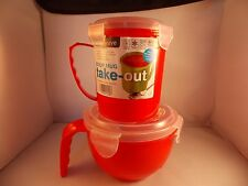 Set Microwave Soup Mug & Lunch Bowl Take Out Work School Travel Noodle Pasta
