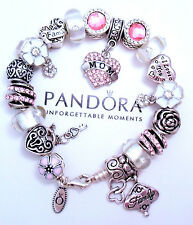 Authentic Pandora Silver Charm Bracelet with European charms Pink Pave Heart