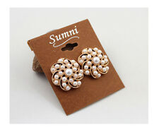 New Sumni Big Stud Earrings Gift FS Women's Jewelry Gold Tone Simulated Pearl