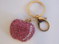 HANDBAG BUCKLE CHARMS ACCESSORIES PINK CRYSTAL APPLE FRUIT KEYRINGS KEY CHAIN