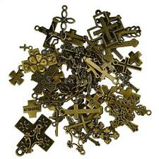 Wholesale Lots 50PCS Antique Bronze Cross Charms Necklace Pendants Finding