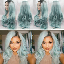 Heat Resistant Hair Ombre Wig Synthetic Black To Baby Blue Lace Front Wig 18''