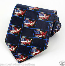 Home Of The Free Mens Neck Tie American Flags USA Map Patriotic 4th July Tie New
