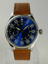 Montre pilote FLIEGER Blue SUNRAY Mécanique type Unitas 6497 pilot watch B-uhr