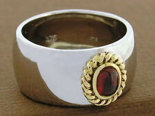 R043/76 Genuine 9ct Solid Gold & 925 Silver NATURAL Garnet Rope Band Ring size N