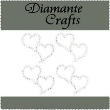 4 Clear Diamante Entwined Heart Vajazzle Rhinestone Body Art Self Adhesive Gems