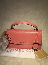 Michael Kors Ava Small Patent Saffiano Leather Top Handle Satchel-Peachw/DustBag