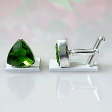 FACETED PERIDOT MEN'S CUFFLINKS 925 STERLING SILVER CF 46 WEDDING GIFT
