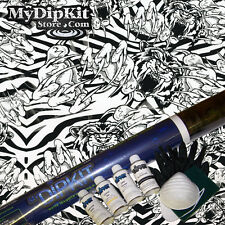 Hydrographics Kit Large Hydro dip Kit  MyDipKit CRAZY TIGERS w ACTIVATOR LL-153