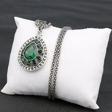 Designer Inspired Green emerald Crystal Silver Tone Drop Pendant Necklace