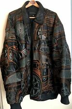 Black Leather Bomber Jacket 6X Mens Rexton Embroidered Cars Topstitched Coat