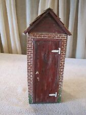 Hand Painted Primitive Brick Outhouse Door Stopper Key Holder Bathroom Weight