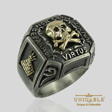 Memento Mori Silver Gold Ring SIZE 12 Masonic Freemason Skull and Bones Biker