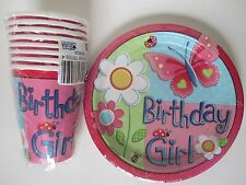 American Greetings Garden Girl Birthday Plates Cups Set of 8 Butterfly Flower