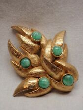 MCM Modernist Pin Brooch Gold Triple Leaves Green Cabochon Stones Fire Flames