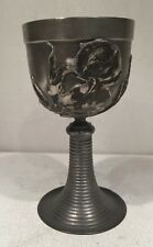 Collectible Pewter Metal Wine Goblet Cup With Flower Design Iris