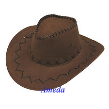 Kids Western Cowboy Cowgirl Brown Hat Leather Costume Halloween Party Dress Up