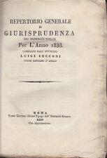 DIRITTO CECCONI LUIGI REPERTORIO GIURISPRUDENZA DEI TRIBUNALI ROMANI ANNO 1838