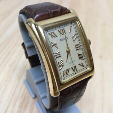 GUESS Indiglo Men Gold Tone Curved Case Roman Analog Quartz Watch Hour~New Batte