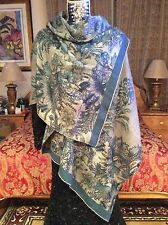 SUMPTUOUS CHIC LORO PIANA Flower print  X-LARGE taupe/teal cashmere Shawl/Scarf