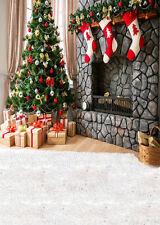 Christmas Socks Pinetree fireplace Backdrop Vinyl Photography Background 5x7FT