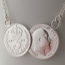 Sterling Silver Double Old Coin Pendant Necklace 2 Coin Perfect Unique Gift