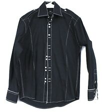 Steven Land Fitted Shirt 100% Cotton Black White Topstitching 40/M Square Button