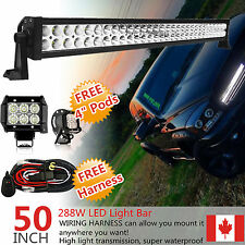"50 Inch Led Work Light Bar + 2x 4"" CREE Pods Offroad Trailer Truck SUV ATV 52/54"