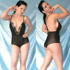 dünner BODY aus TÜLL* S * transparenter Teddy* French Chiffon Dessous mit Spitze