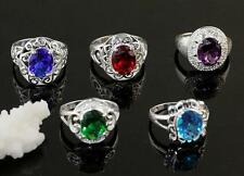 Wholesale 5pcs NF 925 Silver RingS CZ Mixed Solitaire Rings Sz.7-9