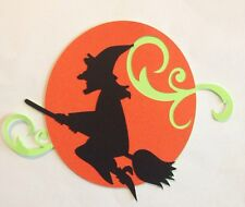 Halloween Moon And Witch Silhouette Die Cut Punches Handmade With Card Stock