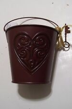 BROWN METAL HEART WITH KEY BUCKET CONTAINER VALENTINES DAY DECORATION