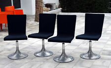 4 Vintage ITALY MID-CENTURY MODERN Aluminum Pedestal SWIVEL DINING CHAIRS Eames