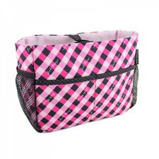JACKI DESIGN Retro Plaid BLACK/PINK/HOT PINK Cosmetic Organizer Bag - NEW!
