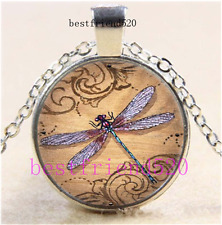 Dragonfly Photo Cabochon Glass Dome Silver Chain Pendant Necklace#O6P