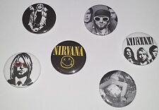 6 Nirvana pin button badges 25mm punk Nevermind Bleach Kurt Cobain Seattle Rock