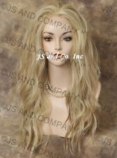 Pale Blonde w Strawberry mixHeat Resistant Lace Front Wig Long Wavy  sy  #613-27