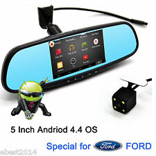"5"" Android Car DVR Rear View Mirror GPS WiFi Bluetooth Monitor&Camera For FORD"