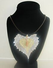JUMBO 3 PCS,3 TONE REAL SILVER+GOLD COTTONWOOD LEAF+ROSE PINE PENDANT NECKLACE