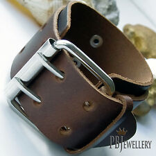 Mens Belt Buckle Leather Surfer Wristband Bracelet